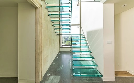 Glass Stairs Siller Stairs | Wooden Handrail With Glass | Oak | Square | Marble | Landing | Nautical Wood