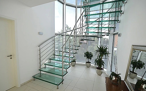 Design Stairs In Glass Wood Steel And Corian By Siller Siller   Stairway Designs For Homes   Limited Space   Entryway   Duplex India House   Step Side Wall   Traditional