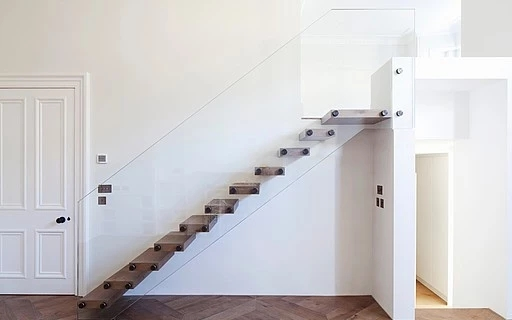 Concrete Stairs Siller Stairs   Concrete And Wood Stairs   Concrete Wall   Separated   Concrete Building Interior   Glass Balustrade   White Riser Wood