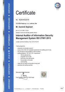 Certyfikat audytora wewnętrznego systemu zarządzania bezpieczeństwem informacji ISO 27001:2013