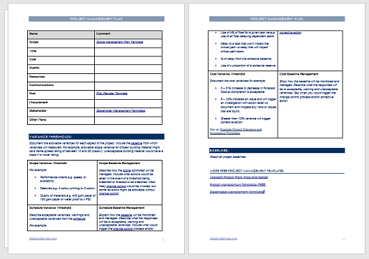 A project is an undertaking by one or more people to develop and create a service, product or goal. Project Management Plan Template Free Download