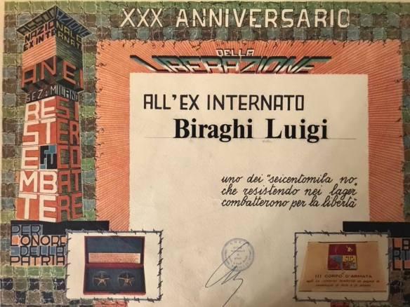Attestato ANEI a Luigi Biraghi