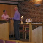 picture of presentation of leaving gift to Tom Breslin Sept 2006