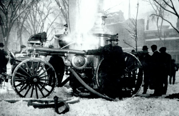 1904 - the 1892 American LaFrance Steamer Pumping at Town Hall Fire