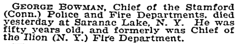 Chief George Bowman's Obituary