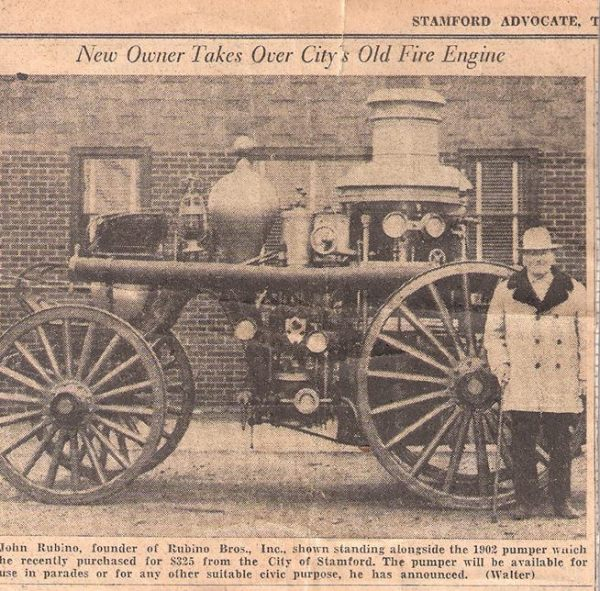 December 1951 - John Rubino with his new acquired Amoskeag Steam Fire Engine