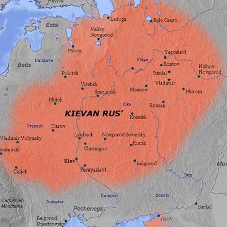 Map of Kievan Rus in the 11th Century