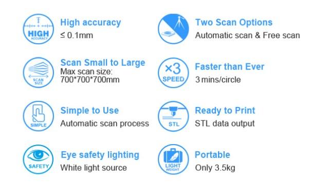 EinScan-S scanner 3d economico alta  risoluzione 6