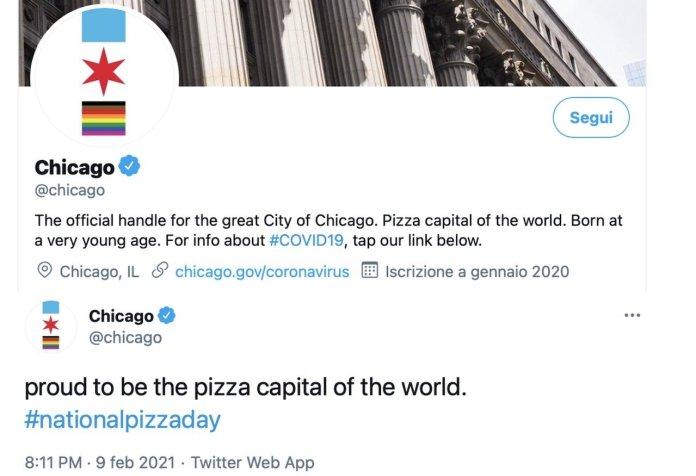 account Twitter della città di Chicago