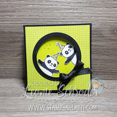 Party Pandas Corner Flip Card by Leonie Schroder Independent Stampin' Up! Demonstrator Australia