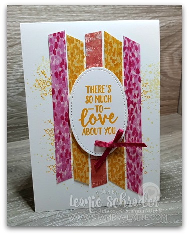 Quick & Fun card using strips of Garden Impressions Designer Series Paper Stack by Leonie Schroder Independent Stampin' Up! Demonstrator Australia
