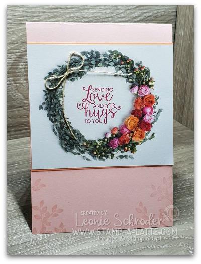 Love n hugs wreath using Petal Promenade Designer Series Paper from Stampin' Up!