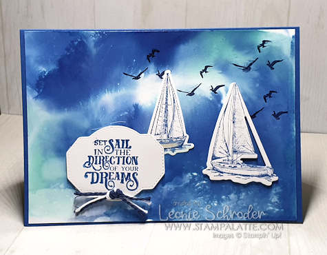 Faux Watercolor Background with Come Sail Away Bundle by Leonie Schroder Independent Stampin' Up! Demonstrator Australia