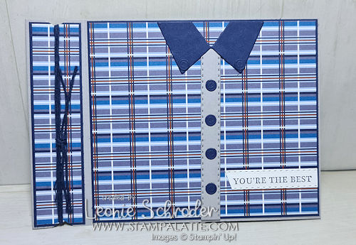 Side Fold Shirt Card using Well Suited Suite by Leonie Schroder Independent Stampin Up Demonstrator Australia