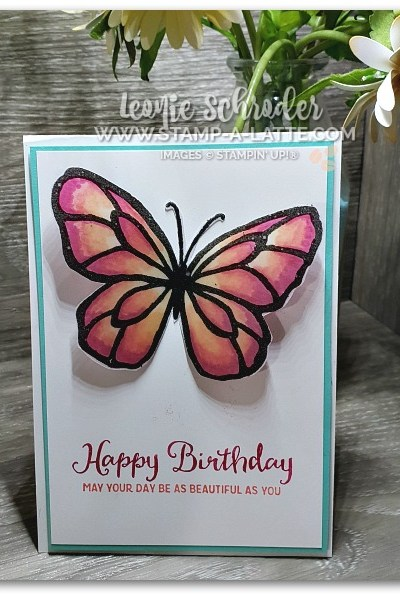 Stained Glass Butterfly using Beautiful Day Stamp Set by Leonie Schroder Independent Stampin' Up! Demonstrator Australia