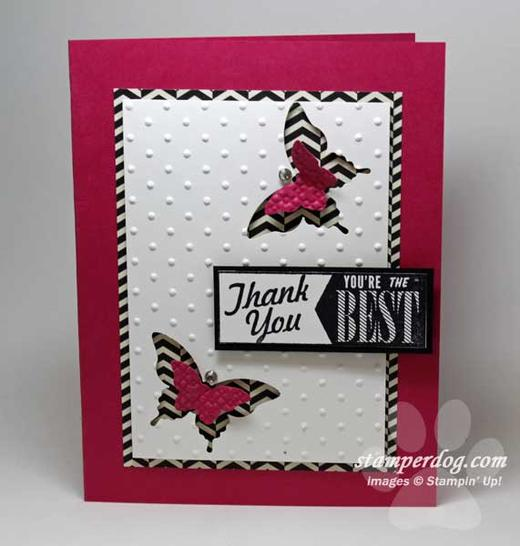 Pink Punch Art Thank You Card Stampin Up Demonstrator