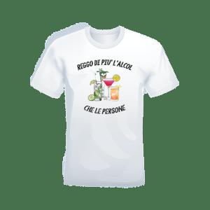 """T-shirt Bianca 100% cotone """"Reggo più l'Alcol che le persone"""""""