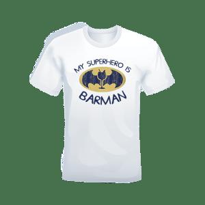 T-shirt Bianca 100% cotone My superhero is Barman