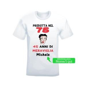 """T-shirt bianca 100% cotone """"Prodotta nel 75"""""""