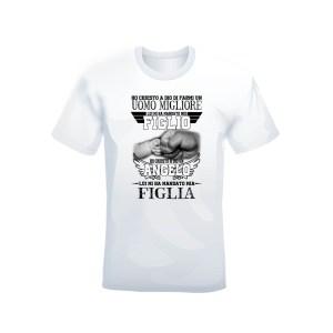 """T-shirt bianca 100% cotone """"Figlio e Figlia"""""""