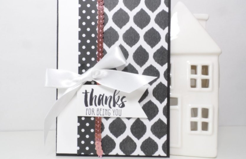 Simply Sketched Saturday Challenge Thank Card using Go Wild Designer Series Paper from Stampin' Up! UK
