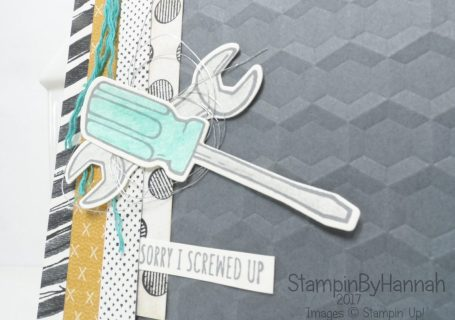 Mans card with tools using the Nailed It Bundle from Stampin' Up! to make an I'm Sorry Card