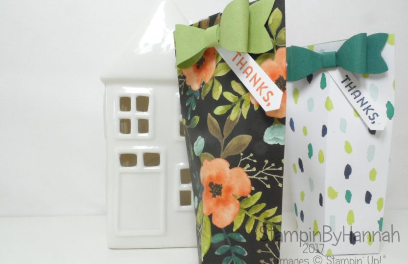 Make It Monday Square bottomed gift bag candles chocolate lipstick using A Whole Lot of Lovely from Stampin' Up!