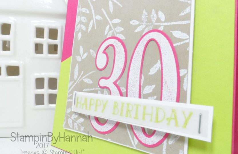 Inspire.create.challenges bold and bright 30th birthday card using Number of years from Stampin' Up!