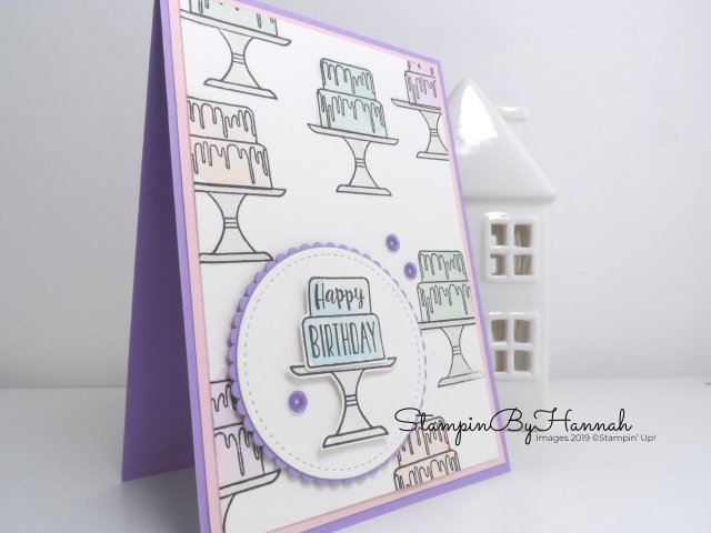 Subtle Watercolour Birthday Card using Piece of Cake from Stampin' Up! with StampinByHannah for Just Add Ink