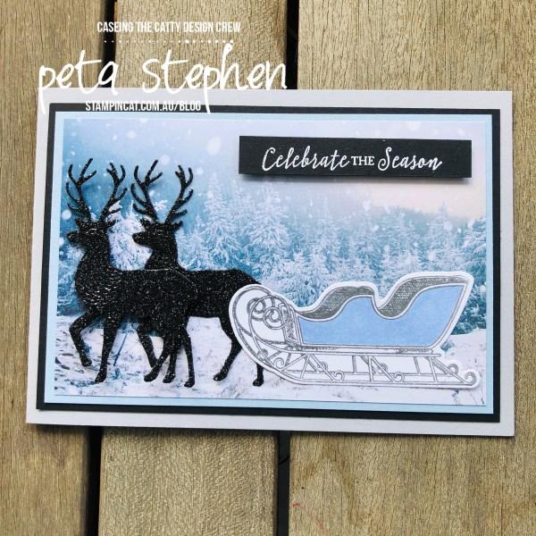 #stampin_cat #CTC280 #wishesandwonder #blackglitterpaper #feelslikefrost #christmascard #stampinup
