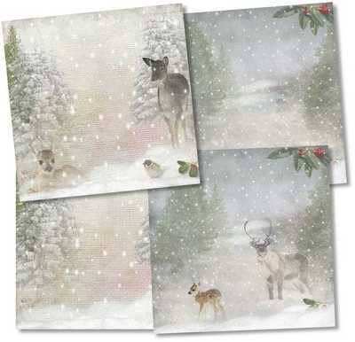 Christmas Backing Papers Downloads Snow Scene With Deer