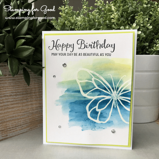 Stamping for Good Stampin Up Card Idea Beautiful Day Butterfly Brusho