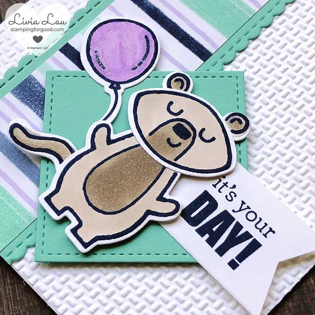 Menagerie Mix Up Bear Balloon Card Close Up
