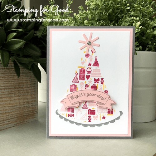 Stamping for Good Stampin Up Card Idea Party Hat Birthday Pink