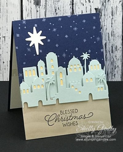 Easy and elegant Christmas card with Stampin' Up! Night in Bethlehem Stamp Set designed by Shelly Godby of www.stampingsmiles.com