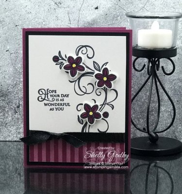 Make homemade birthday cards with the Stampin' Up! Falling Flowers Stamp Set. Stampin' Up! Falling Flowers card designed by Shelly Godby of www.stampingsmiles.com