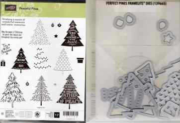 Peaceful Pines Photopolymer Stamp Set & Perfect Pines Framelits Dies $47.00
