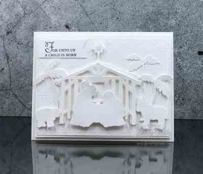 Stunning all-white nativity Christmas card with Stampin' Up! Peaceful Nativity Bundle