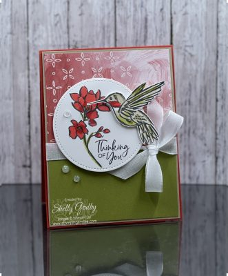 Beautiful handmade hummingbird card with the Stampin' Up! Touch of Ink Stamp Set