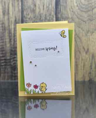 Sweet and simple spring card with the Stampin' Up! Springtime Joy Stamp Set www.stampingsmiles.com