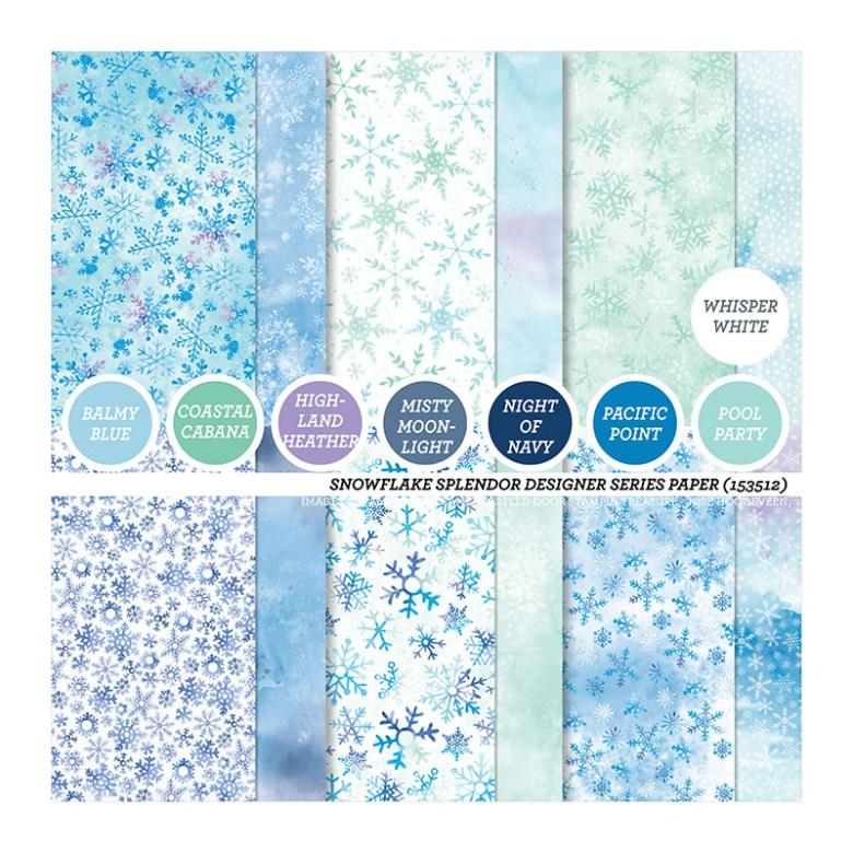 snowflake, splendor, winterpracht, stampin up, stampin treasure, dsp, papier met een design