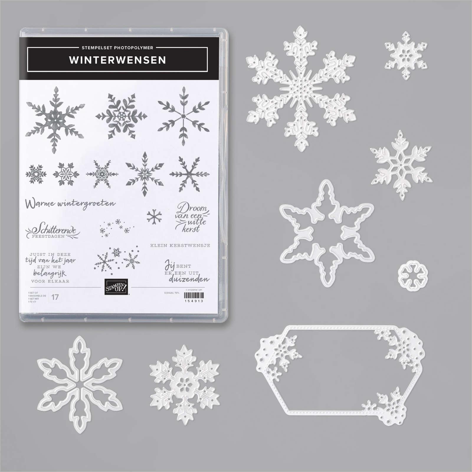 winterwensen, sneeuvlokjesstansen, snowflake wishes, many snowflakes, dies, stampin up, stampin treasure, bundle, productpakket