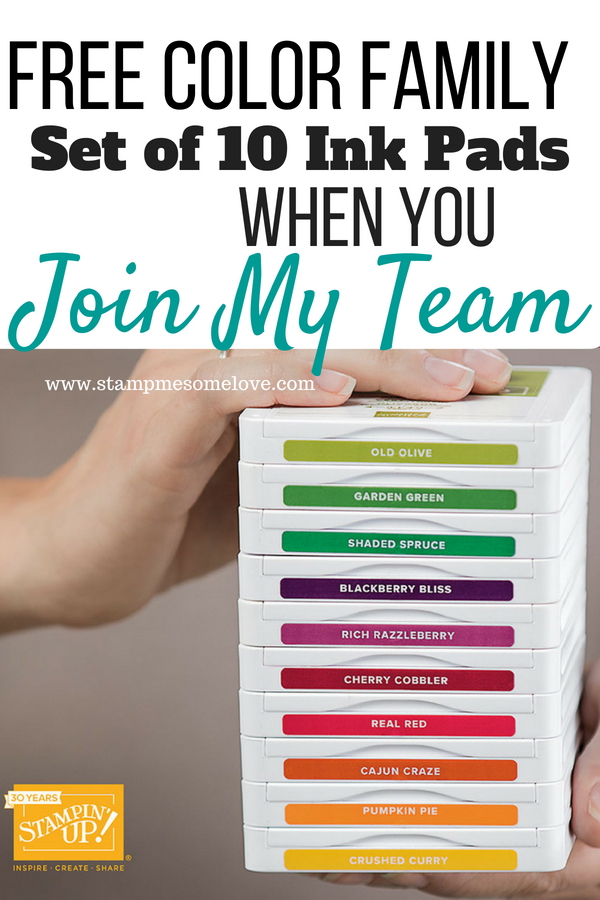 Stampin' Up! Demonstrator Promotion July 2018. Join my Stampin' Up! Team and get 1 color family set of 10 Ink Pads free!  Stampin' Up! Business | Stampin' Up! Demonstrator | Stampin' Up! Business Resources | Stampin' Up! Business Tips | Stampin'! Up Color Families | Stampin' Up! Color Combinations