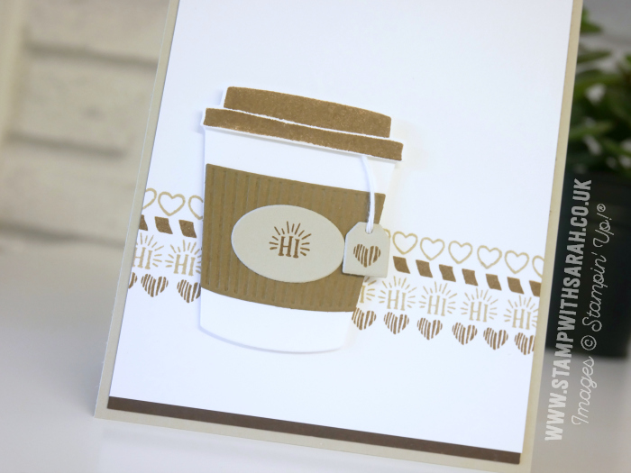Coffee Cafe cut stamped borders and a cup of tea by Stampin' Up! UK Demonstrator Sarah Berry