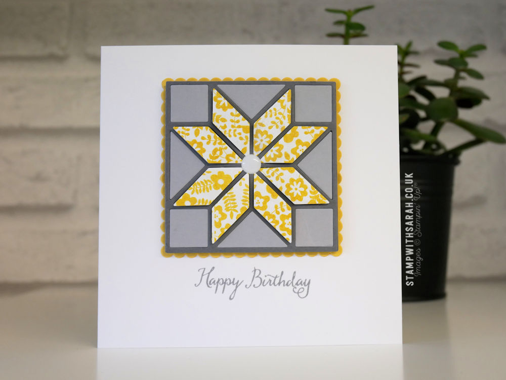 A Birthday Card Created With The Quilted Christmas Framelits By
