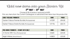Add new items into your Stampin' Up! Starter Kit in May! www.stampwithsarah.co.uk