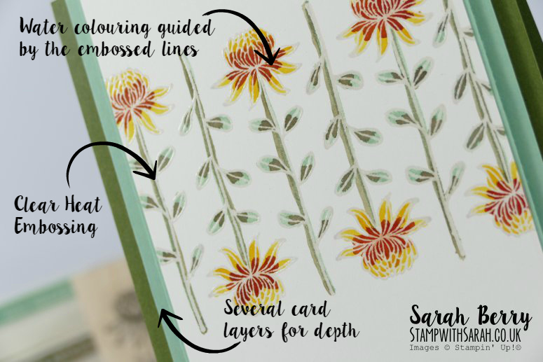 Close up with directions of William Morris inspired card for Farewell Blog Hop Part 2