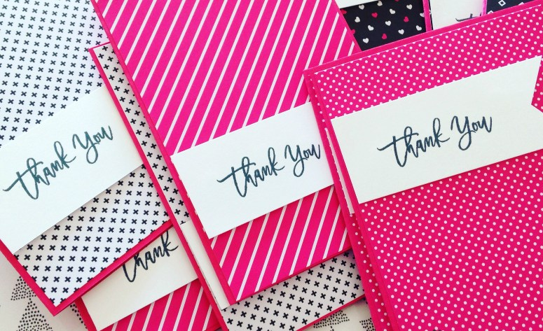 Thank you cards for my customers using Pop of Pink!