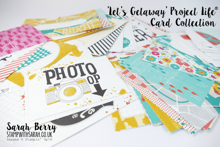 The colourful Let's Getaway Project Life Card Collection by Stampin' Up! #stampwithsarah #stampinup #PLxSU