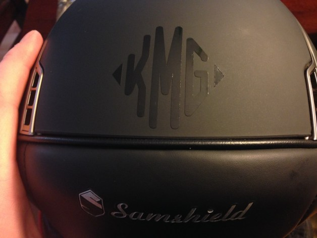 Get a cool helmet monogram like this one from Relatively Stable!